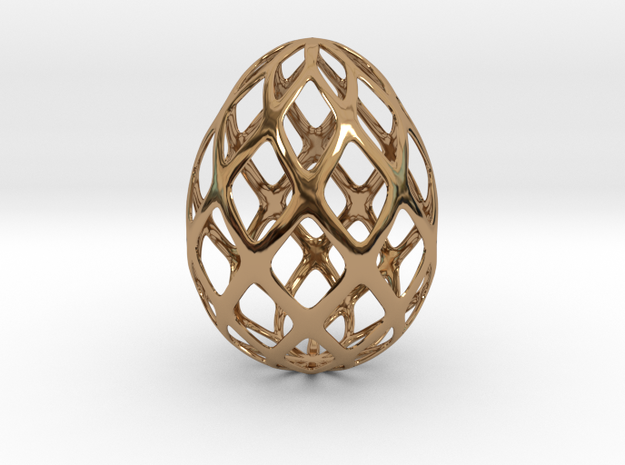 Trellis - Decorative Egg - 2.3 inches in Polished Brass
