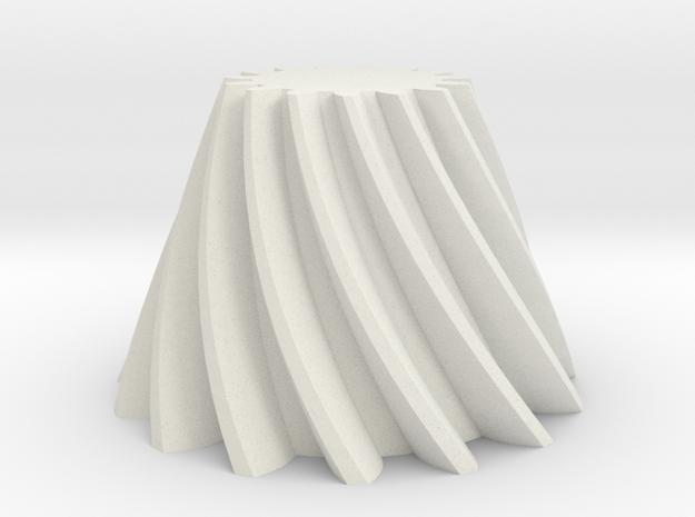 Bevel helical gear Module 4 in White Natural Versatile Plastic