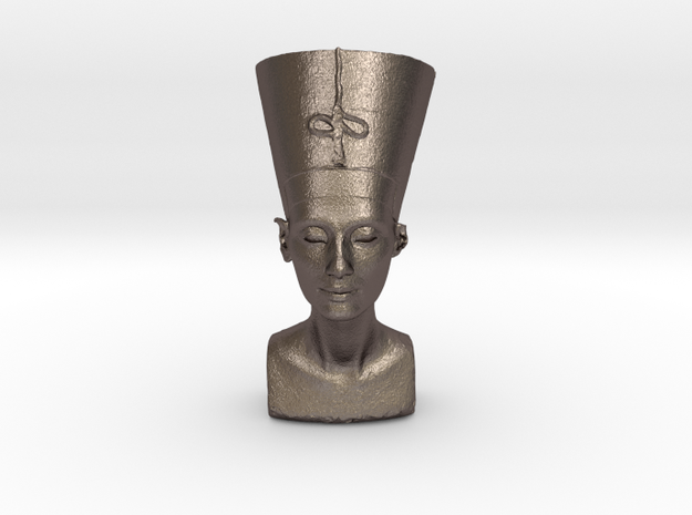 Original Egyptian Queen Nefertiti bust 3D scanned. in Polished Bronzed Silver Steel