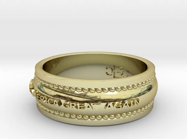 Size 7 Make America Great Again Ring in 18k Gold Plated Brass