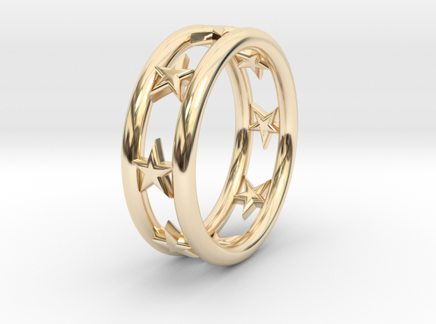 Ring Of Linestars 14.5 mm Size 3 0.5 in 14K Yellow Gold