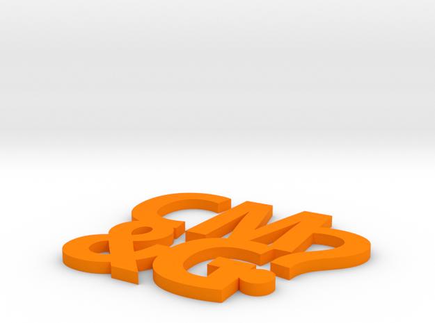 Coaster #1 - CM&G logo in Orange Strong & Flexible Polished