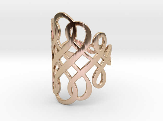 Celtic Knot Ring Size 8 in 14k Rose Gold Plated Brass