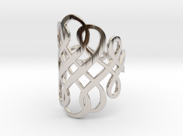 Celtic Knot Ring Size 10 in Rhodium Plated Brass