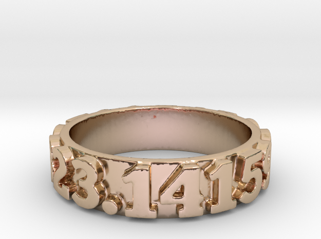 Pi Sequence Ring Size 7 in 14k Rose Gold Plated Brass