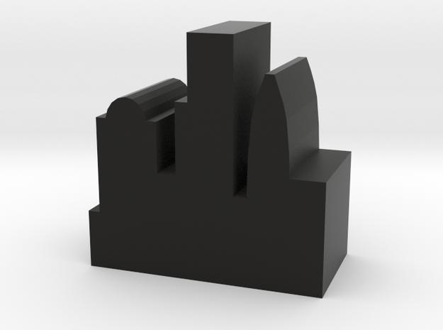 Game Piece, City Token - Modern v1 in Black Natural Versatile Plastic