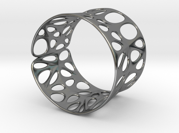 Catenoid Voronoi Bracelet in Fine Detail Polished Silver
