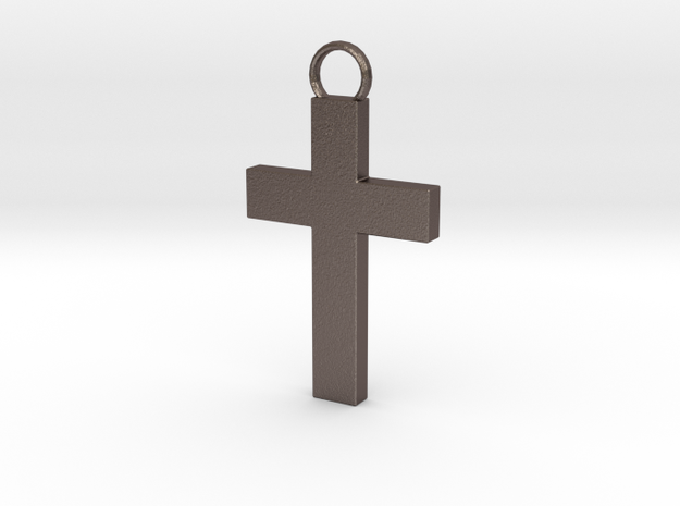 Cross Pendent in Polished Bronzed Silver Steel