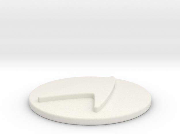 Starfleet Epaulet Button in White Natural Versatile Plastic