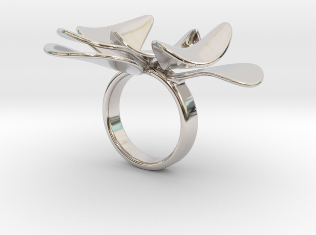 Petals ring - 20 mm in Rhodium Plated Brass