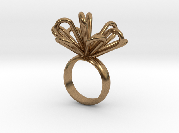 Loopy petals ring in Raw Brass