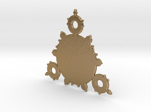 Mandelbrot 3 Leaf In Pendant in Polished Gold Steel