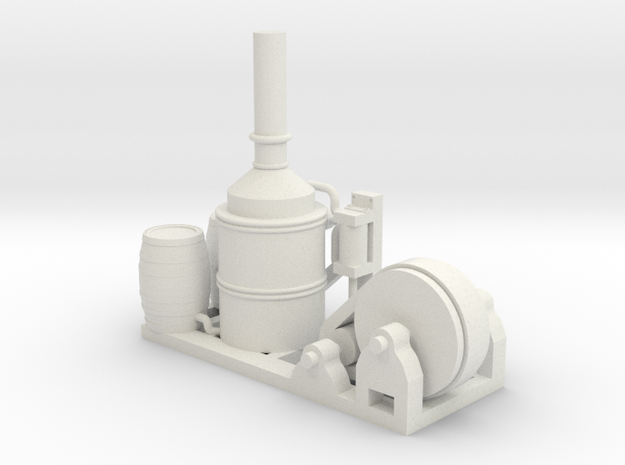 Steam Donkey - HO 87:1 Scale in White Natural Versatile Plastic