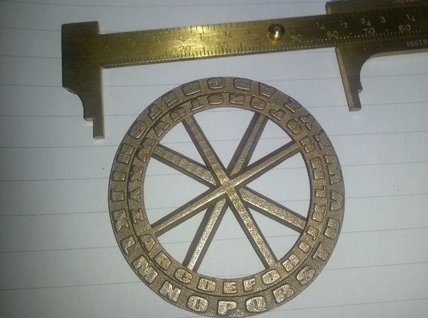 Secret Decoder Wheel Pendant 3d printed Stainless Steel Option has a great feel