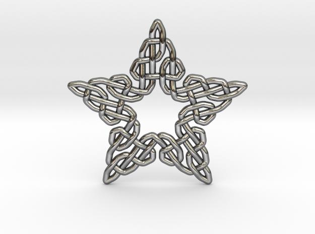 0511 Celtic Knotting - Star Grid [5] in Fine Detail Polished Silver