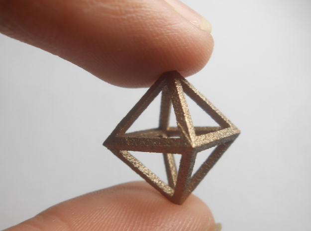 Faceted Minimal Octahedron Frame Pendant Small in Stainless Steel