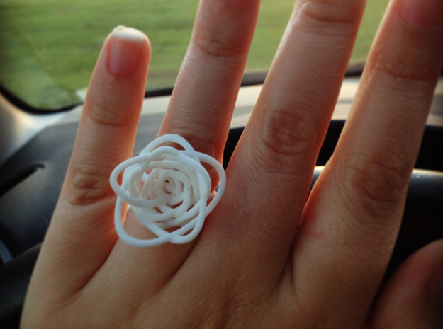 Sprouted Spiral Ring (Size 8) 3d printed White Strong & Flexible