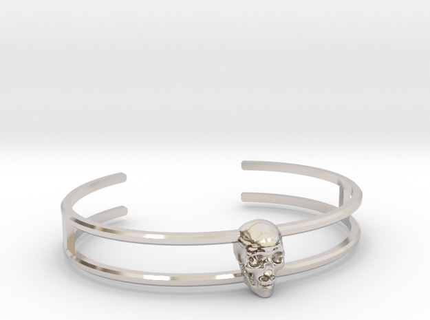 Double Stranded Single Skull Cuff in Rhodium Plated Brass: Medium