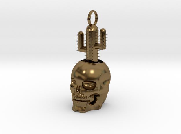 2.5 cm Skull Cactus Pendant in Polished Bronze