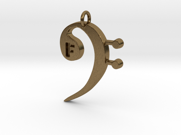 F Clef Pendant with «F» in Raw Bronze