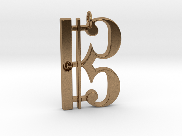 C Clef Pendant with «C» in Raw Brass