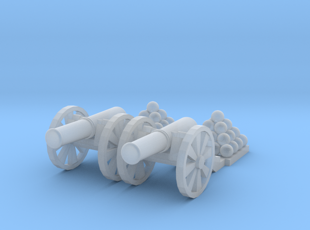 Cannon (Light) Qty - (2) N 160:1 Scale in Smooth Fine Detail Plastic