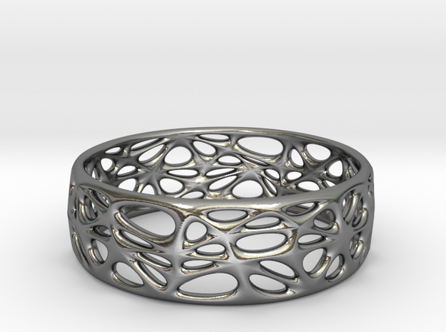 Voronoi Bracelet (001) in Polished Silver