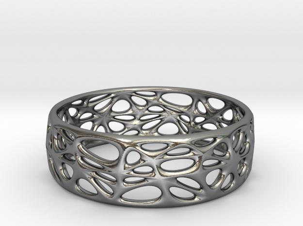 Voronoi Bracelet 65mm (001) in Polished Silver