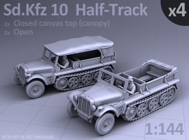 Sd.Kfz 10  Half-Track  (4 pack) in Smooth Fine Detail Plastic
