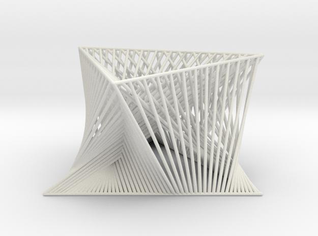 3D Strings Model 6 in White Natural Versatile Plastic