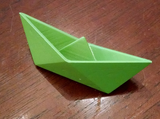 Classic Origami Boat in Green Strong & Flexible Polished