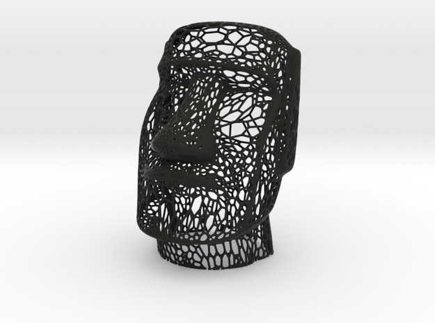 Moai Voronoi Style (Easter Island Sculpture) in Black Natural Versatile Plastic