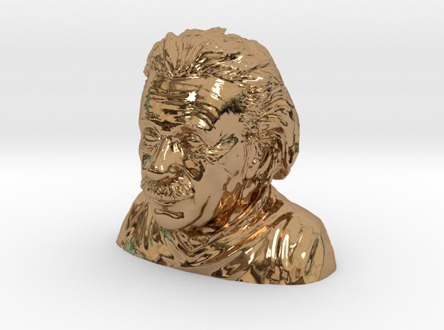 Einstein Bust in Polished Brass