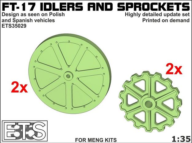 ETS35029 - FT17 - Idlers & Sprockets [1:35] in Frosted Extreme Detail