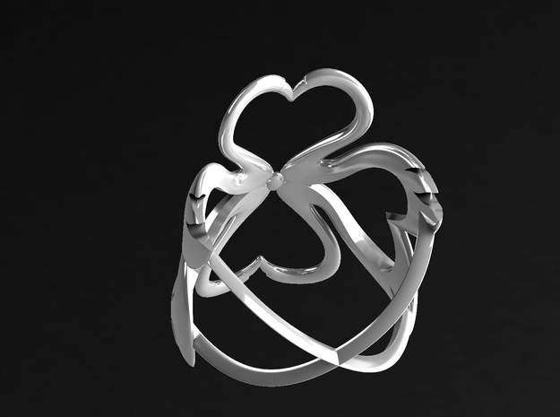 Swan-Heart Ring (small) 3d printed back