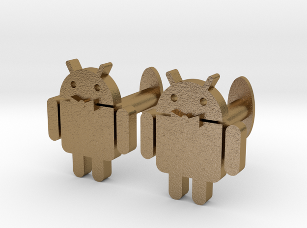 Android Cufflinks 2x  in Polished Gold Steel