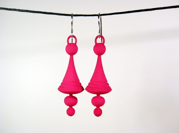 Luna Earrings - Space Age Earrings in Pink Strong & Flexible Polished