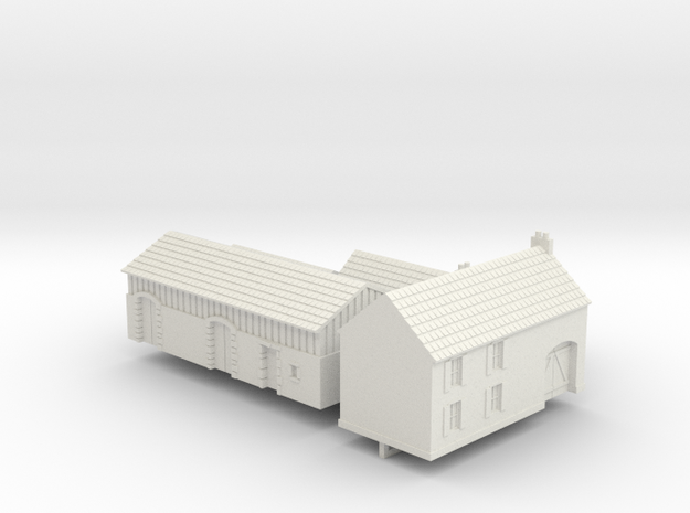 1:285 Two farm houses. in White Natural Versatile Plastic