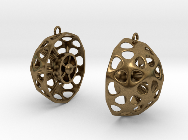 Diatom Earrings 02 in Raw Bronze