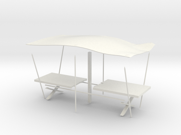 Medieval Table with awning in White Natural Versatile Plastic