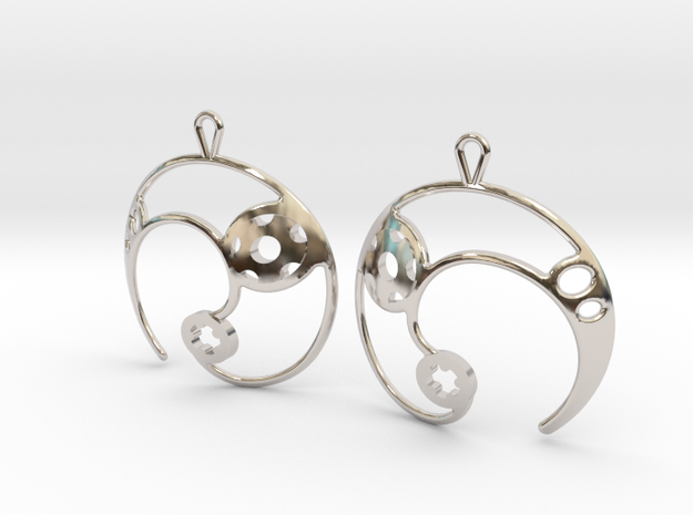 Enso No. 2 Earrings in Rhodium Plated