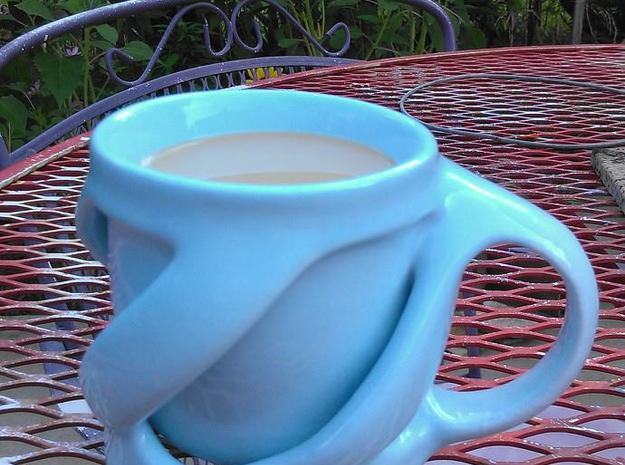 Twist of Fate Mug 3d printed In Eggshell Blue Ceramic