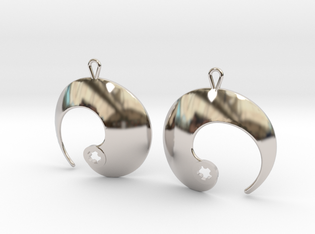 Enso No. 1 Earrings in Rhodium Plated