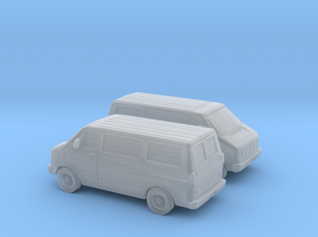 1/160 2X 1986-93 Dodge Ram 150 Van in Smooth Fine Detail Plastic