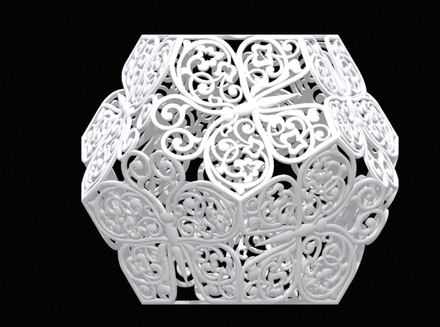 Buttefly Dodecahedron 03 in White Natural Versatile Plastic