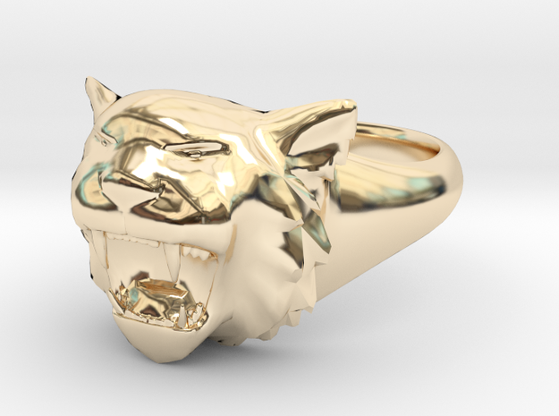 Awesome Tiger Ring Size11 in 14K Yellow Gold