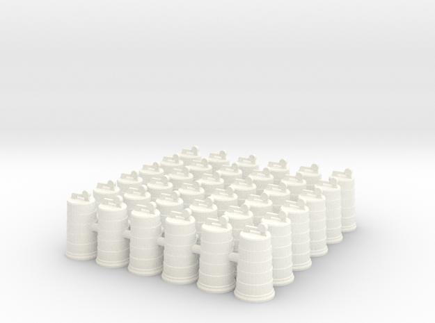 Traffic Drum .01. 1:64 Scale in White Processed Versatile Plastic