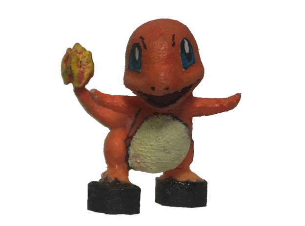 Custom Charmander Pokemon Inspired Figure for Lego in White Processed Versatile Plastic