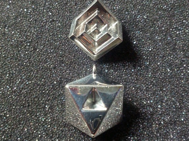 NestedCube Earring 3d printed Premium Silver. Showing both sides