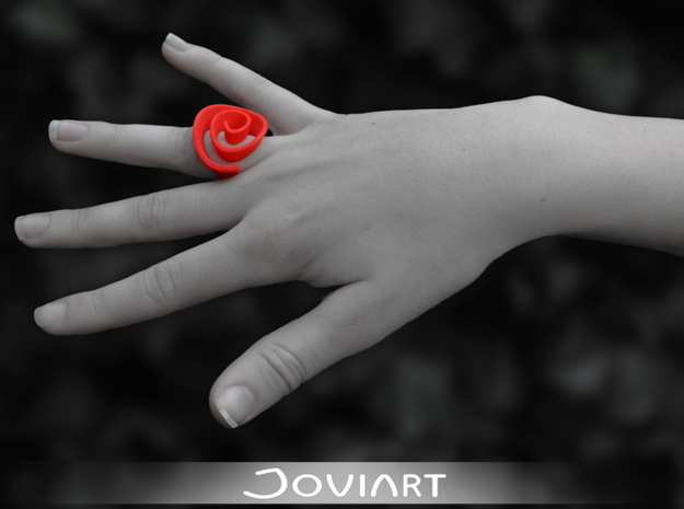 Curly Rose Ring 19.5mm in Red Processed Versatile Plastic